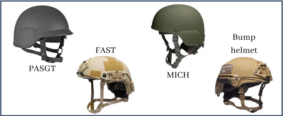 Different types of helmets used in Airsoft